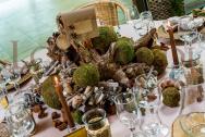 Tavolo legno con muschio - Centrotavola