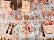 Tavolo rosa antico con tovaglia ricamata - Dettaglio